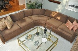 """Spectacular custom brown chenille 113"""" x 104"""" three piece loose pillow back sectional"""