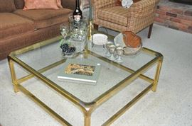 """Wonderful 40"""" x 40"""" brass and glass coffee table."""