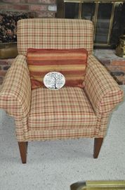 """Beautiful brown, green and rust plaid chair with rolled arms made by Craftwork.  33""""W x 37"""" H x 33"""" D"""