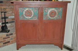 """Vintage painted storage cupboard with tin insert panel doors. 52""""W x 58""""H x 20""""D"""