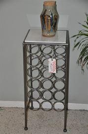 "Polished metal and granite tile top wine holder!  13"" Square 30"" High"