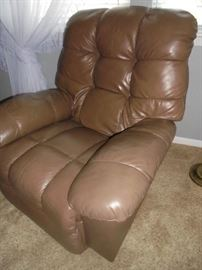 1 of 2 brown matching leather recliners