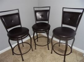 3 metal round bottom bar stools