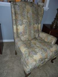 1 of 2 matching wing back chairs