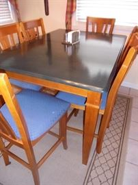 High dining table w/factory blue top w/ leaf & 6 matching chairs