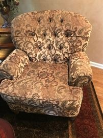 "Tufted-back armchair by Rolling Hills Furniture in Chester.  38""w x 40""d x 39""h"