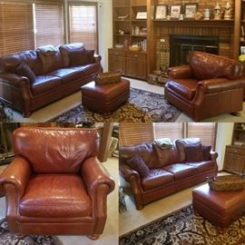 Drexel Leather sofa chair and ottoman