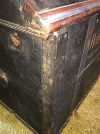 Antique Norwegian steamer trunk with some Rosemaling