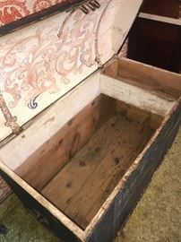 Inside of Antique Norwegian steamer trunk with some Rosemaling