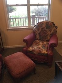 Antique floral chair and ottoman