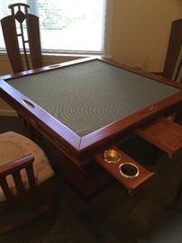 Art Deco table with top removed for cards and chips