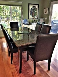 Fantastic Dining Table 6 leather Chairs with Granite Top  ( A Must See ! )   like new condition.