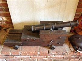 "Bronze Barrel Muzzle Loading Cannon 22"", Later Carriage"
