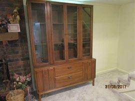 Matching mid century 2 piece china cabinet
