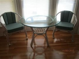 Wicker and glass dinette set