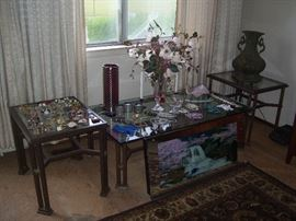 Coffee table and matching end tables, costume jewelry and more.