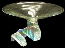 "Steve Maslach (American, b. 1950, CA and Bainbridg, WA): large dichroic glass pedestal sculpture bowl from artist's series #95-41. Signed. 17 5/8"" 17 5/8"" diameter, 10 1/4"" tall."