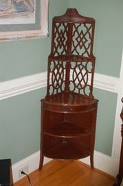 Miniature wood corner cabinet with scroll work