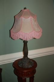 Metal lamps (2) with pink fringe