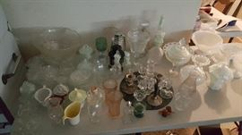 Crystal, glass and vintage milk glass pieces.