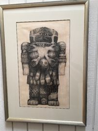 An original pen and ink drawing by Louise LaBauve Saxon exhiblited at the American drawing biennial of 1965