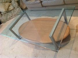 Ethan Allen glass top coffee table with wood shelf $ 140.00