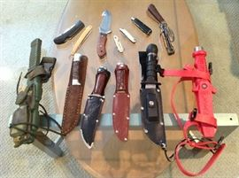 Assorted Knives (hunting, scuba and pocket knives)