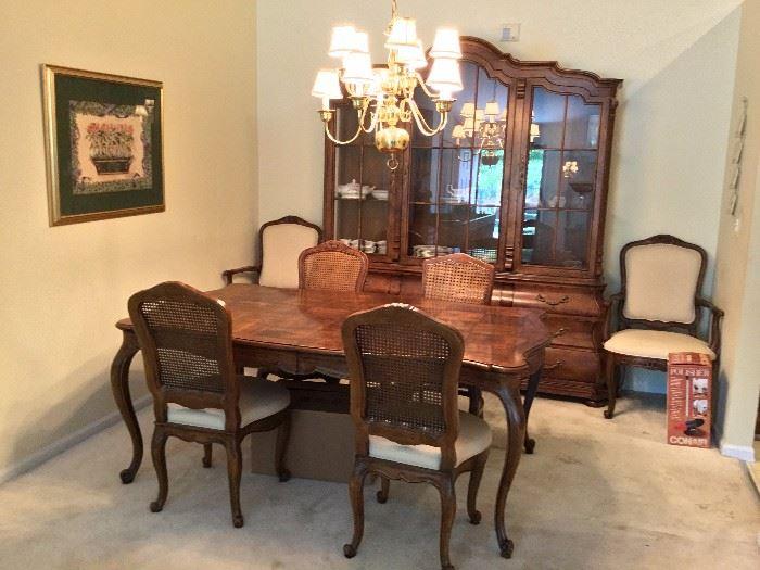 Villandry by Henredon dining table and Villandry by Henredon bombe china cabinet