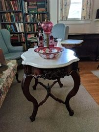 Perfect Victorian marble-top tea table