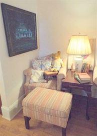 Chair & ottoman, side table, vintage bear