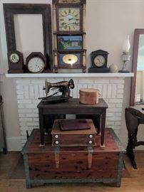 Cedar chest, piano bench, shaker box, sewing machine