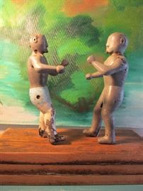 Early Vintage Arcade Sporting Boxer Figures on a wooden platform