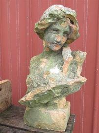 Antique terra-cotta female garden bust