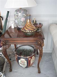 stand, Mackenzie Childs glass & oriental pot