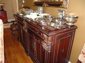 Large mahogany sideboard with marble inserts