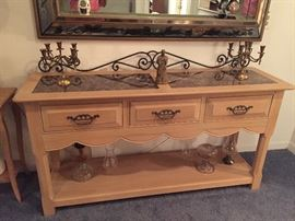 Entryway table with marble inserts $350