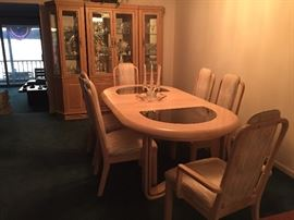 Sold--- Dining room set oak table with eight chairs and China cabinet $800