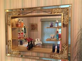 Art deco shadow box mirror hand painted gold leaf