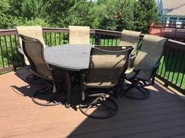 Patio set table and 6 chairs Wrought iron Swivel and rockers from Northwest Metalcraft new$5,000   Best offer***BUY IT NOW  $1,500***