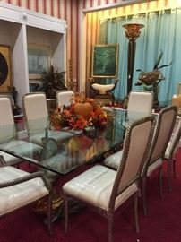 Glass top Blackamoor table with 8 chairs