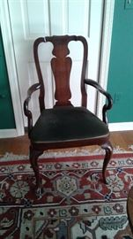 One of eight Queen Anne dining chairs