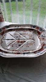Early English ironstone platters in an Old Japan Imari style decoration. Large 22 inches!