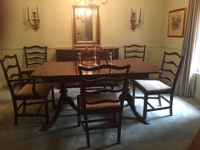 Georgetown Galleries Solid Mahogany Dining Room Table With 6 Side Chairs Beautiful