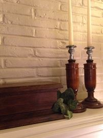 Antique English oak box and candlesticks