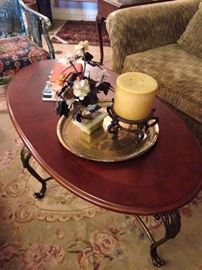Oval coffee table and Asian stone-carved floral arrangement