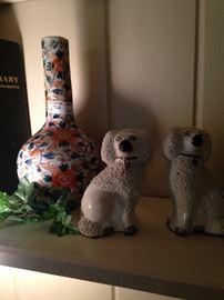 Imari colored vase; Staffordshire dogs