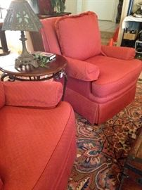 Good looking and very comfortable persimmon colored chairs