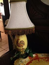 Darling rooster lamp in yellow with beaded fringe shade