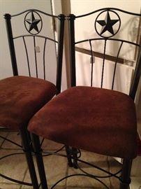Two of three Texas bar stools
