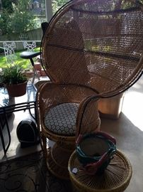 Vintage rattan peacock fan- back chair; small round side table